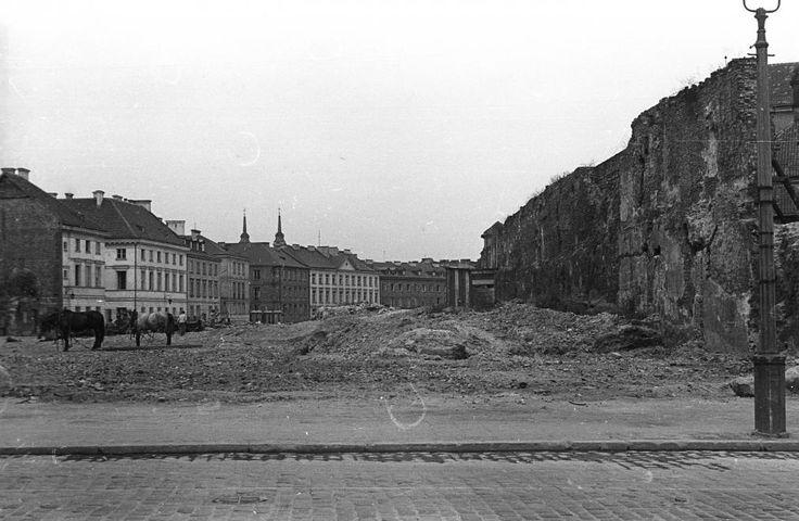 Warszawa, Starówka - Podwale od strony Placu Zamkowego (1958)