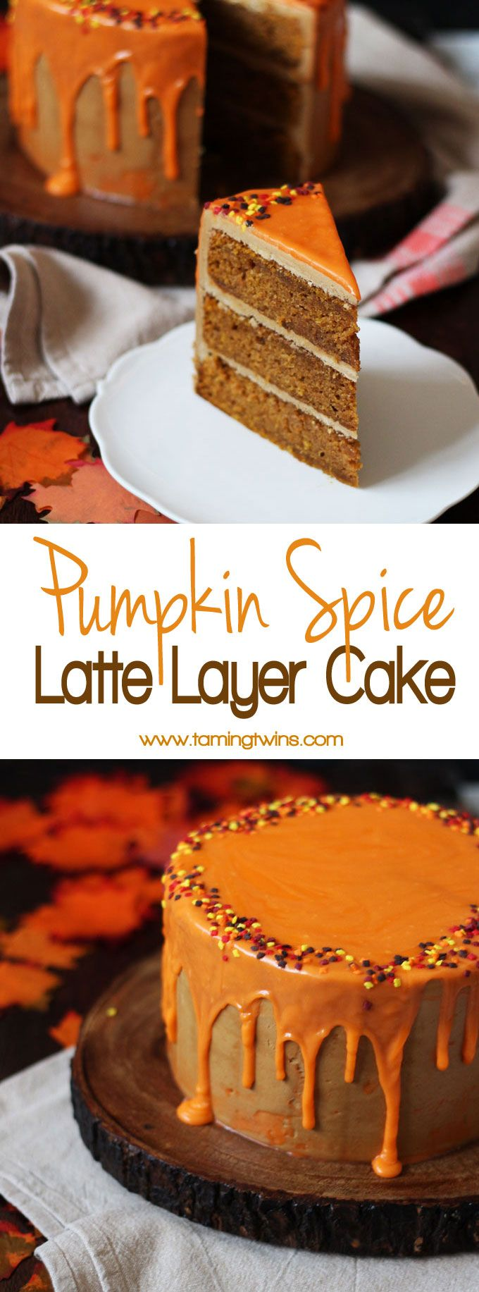 THE Pumpkin Spice Latte Cake Recipe - layers of soft pumpkin spiced cake, with fluffy latte coffee buttercream frosting and a white chocolate ganache icing drizzle. Here's how to make a Pumpkin Spice Latte Layer Cake!