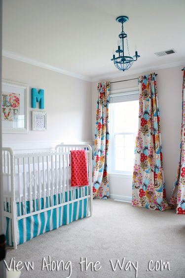 bright baby girls nursery layout - coral aqua teal - love the curtains and light fixture