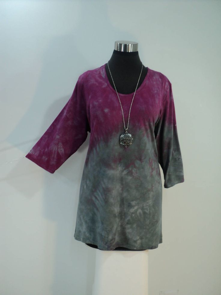 Plus size 2X pink and grey tie dye tunic top with scoop neck and 3/4 sleeves in bamboo blend fabric. by qualicumclothworks on Etsy