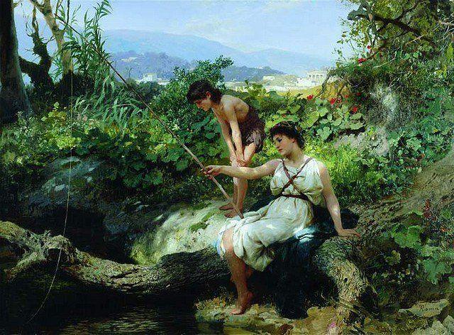 """Henryk Siemiradzki (1843-1902) 🇵🇱🎨  """"Rzymska sielanka - łowienie ryb"""", ok. 1879."""