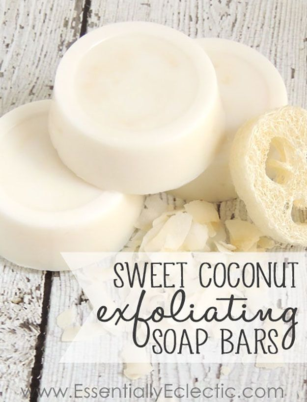 Soap Making! Exfoliating Coconut Soap | http://diyready.com/18-incredible-homemade-soap-ideas-how-to-make-homemade-soap/
