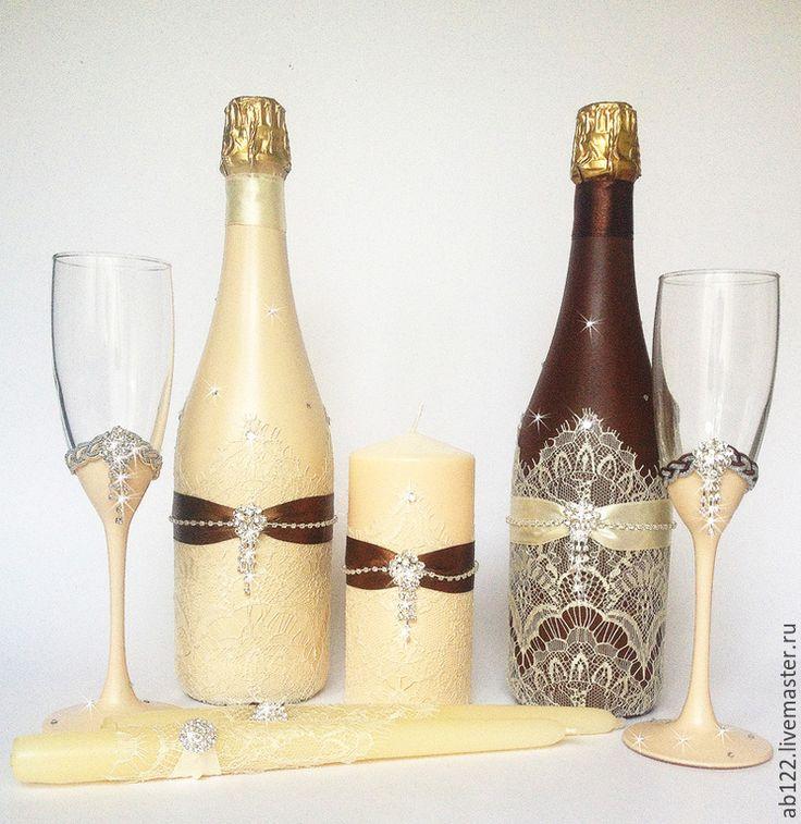 Купить Айвори-шоколадная свадьба - разноцветный, свадебные аксессуары, свадебные бокалы, свадебное шампанское
