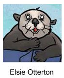Elsie, otter wife to Eli, guest-stars in book 4: Weird Word Day by Jen Jellyfish, M.M., illustrated by Traci Van Wagoner & Kurt Keller, presented by The Library Store.