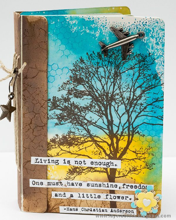 Layers of ink - Stamped Passport Book Tutorial by Anna-Karin. The book was made with Eileen Hull's Sizzix Passport Book die, Stampotique stamps and Ranger inks.