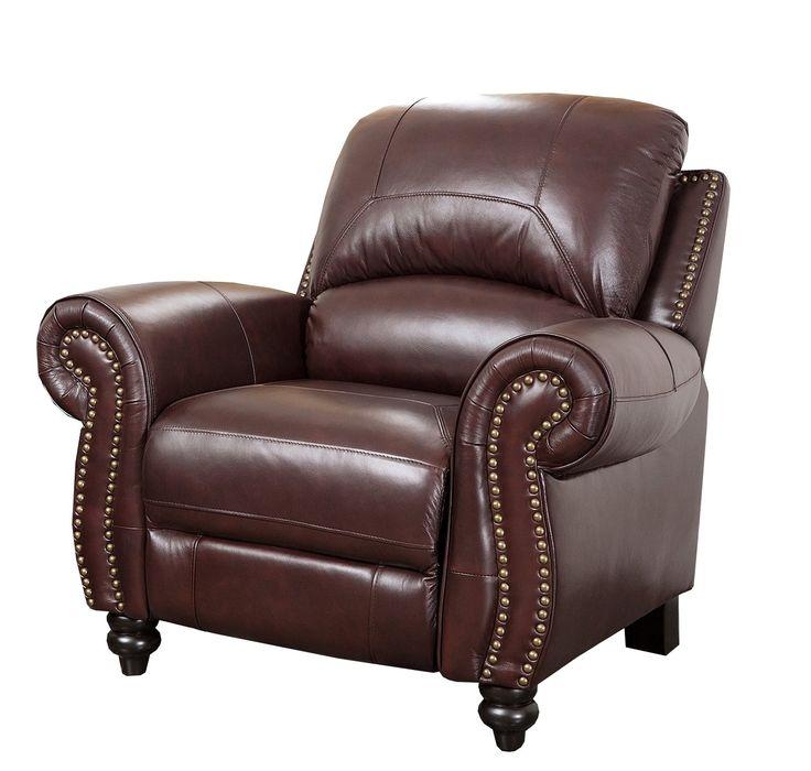 Abbyson Living Durham Leather Pushback Reclining Armchair