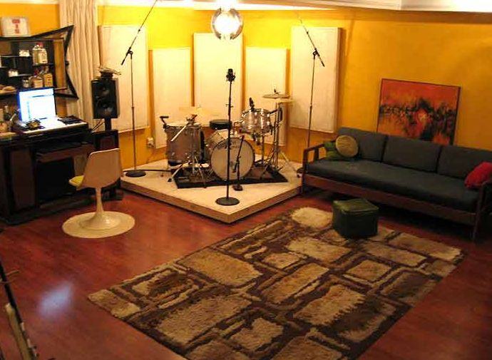 like the idea of a platform for the drum set in the basement.