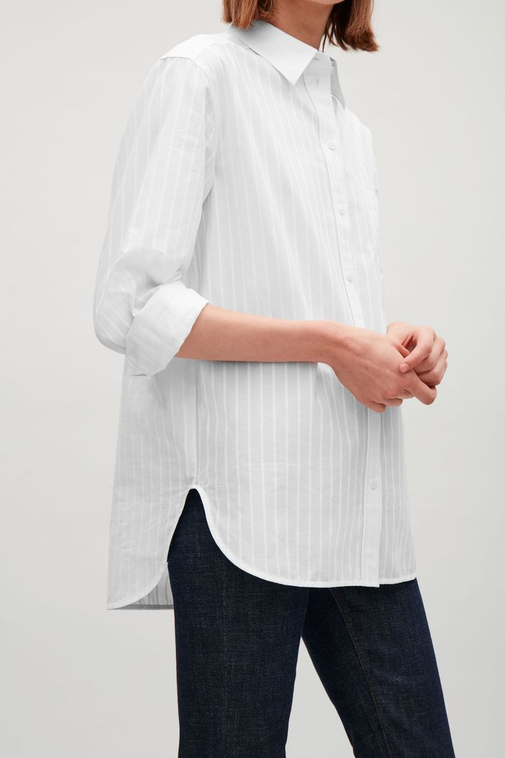 COS image 4 of Oversized striped shirt  in White