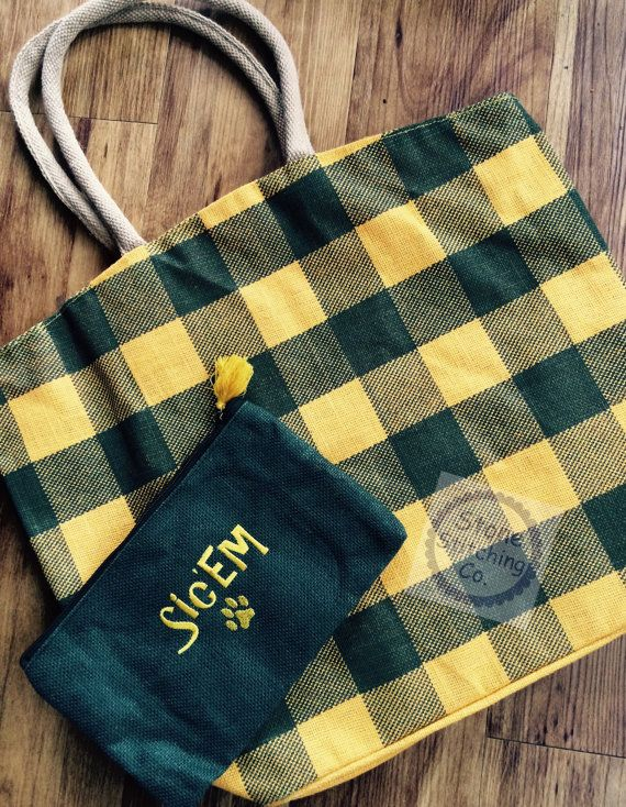 "Perfect for game day! Baylor ""Sic 'Em"" green & gold jute tote bag with matching embroidered cosmetic bag."