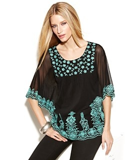 Macy's INC International Concepts Top, Kimono Sleeve Embroidered   $69.50  A pop of bold color makes INC's embroidered top turn heads! Wear it with jeans for a casual look, or pair it with skinny pants for a dressier style.