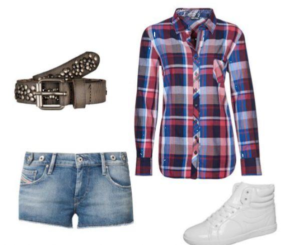 #Jeans #shorts og #hvid #sneakers