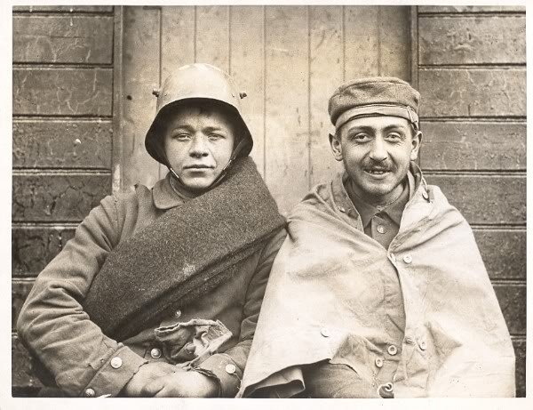 Two captured German soldiers at Passchendale.