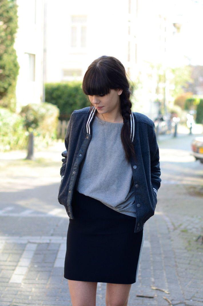 School jacket gray tshirt black skirt #minimalist #fashion #style