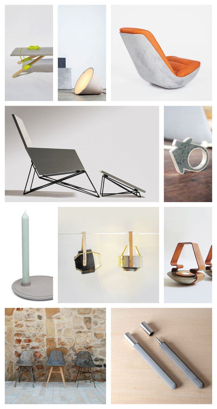 It's a concrete world. -     Line Up Table by Kosta Pamporis - concrete rocking chair by paulsberg  - Modern Muskoka Chair by Brandon - Gore Concrete House Ring by Linda Bennett  - mensch made concrete designs  - Leather and Concrete Decor Collection by EKDESIGN  - Concrete Lamps by Itai Bar-On & Oded  - Webman concrete la chaise d'hauteville by ateliers HLB + julie legros - concrete rollerball pen by 22 design studio