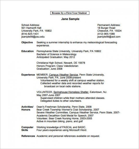 college graduate resume template word
