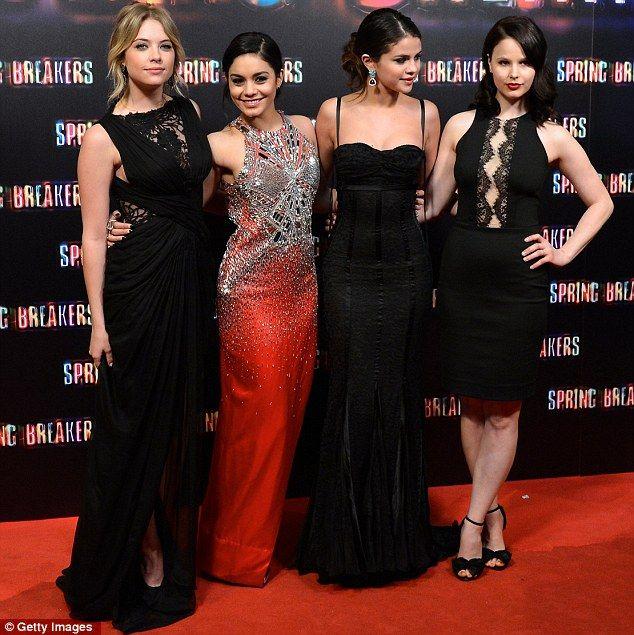 Ashley Benson, Vanessa Hudgens, Selena Gomez and Rachel Korine at the Madrid Spring Breakers Premiere