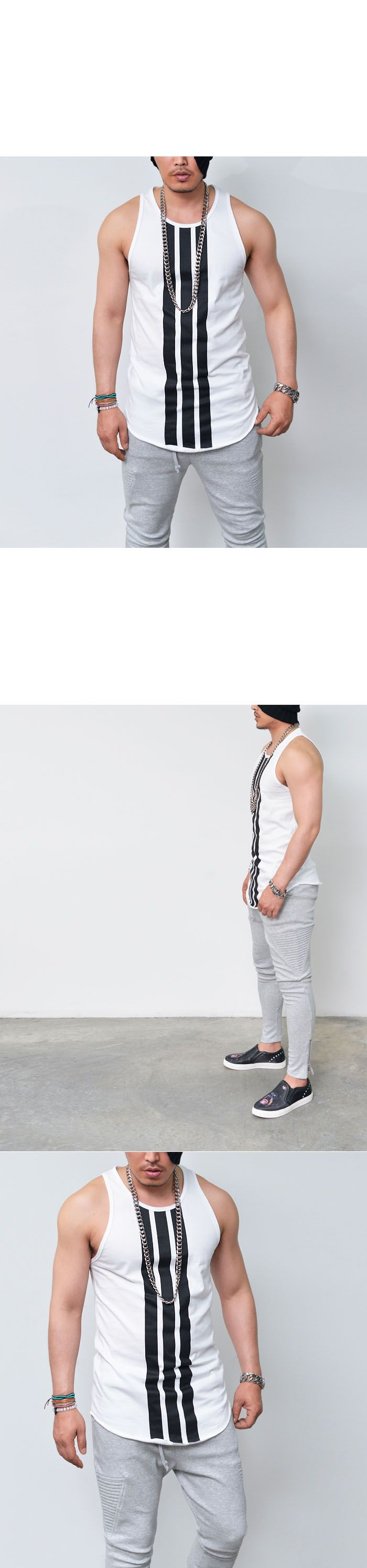 Tops :: Tanks :: Vertical Stripe Long Undershirt-Tank 115 - Mens Fashion Clothing For An Attractive Guy Look