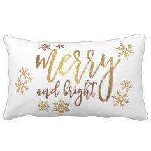 "Christmas Gold-White Pillow - Lumbar 13"" x 21"""