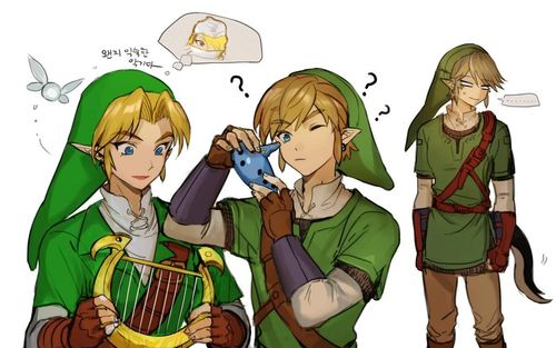 Man i love this. OT Link looking at SS Link's harp. SS Link looking at OT Link's Ocarina. And TP Link hoping nobody notices his tail. XD