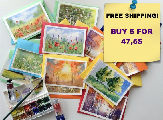 Free Shipping! 5 Frameable Handpainted Original Watercolor Postcards / Paintings.  Buy this item and send me the numbers of the cards you like via message. Card numbers are at the end of the title for each postcard. By UNIQUEPOSTCARDS