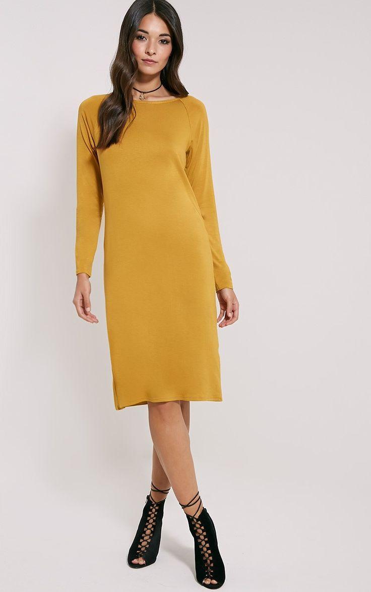 Jean Mustard Long Sleeve Jersey Midi Dress
