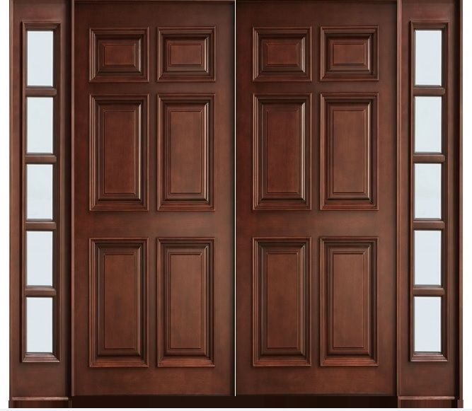 Solid wood 6 panel main double doors | Home Doors Design Inspiration -  DoorsMagz.com
