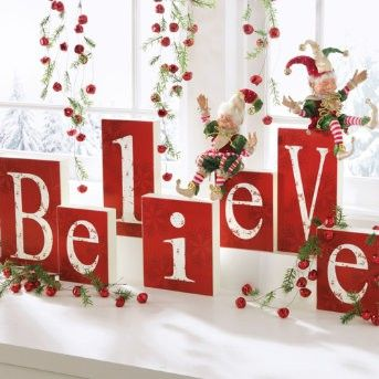 I Believe!Wood Block, Christmas Decorations, Christmas Windows, Christmas Decor Indoor, Indoor Christmas Decor, Holiday Decor, Christmas Ideas, Christmas Mantles, Crafts