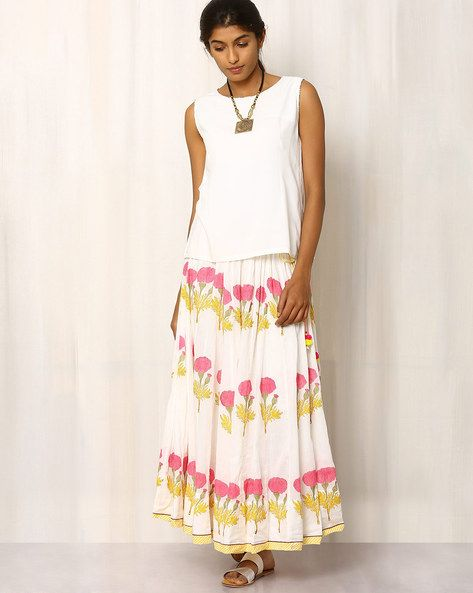 Buy White Pink Lemon Handblock Print Cotton Long Skirt