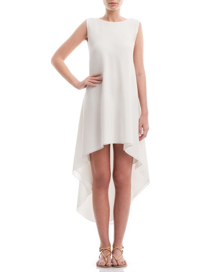 Asymmetric crepe de chine silk summer dress