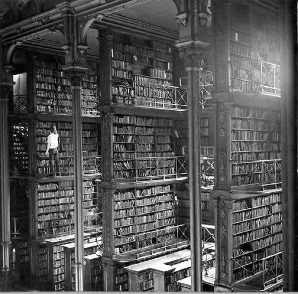 A man browsing for books in Cincinnati's cavernous old main library.