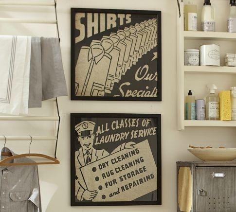 Framed laundry wall art pottery barn laundry room for Pottery barn laundry room
