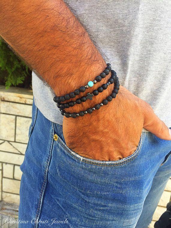 Mannen armband zwarte kralen armband sieraden voor mannen