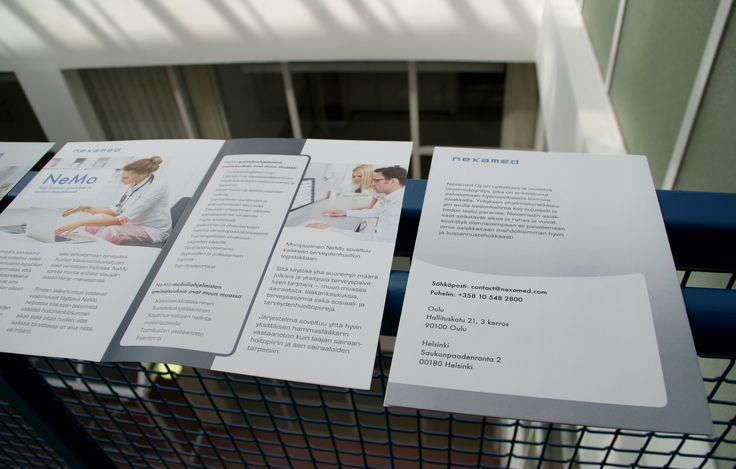 Esite, Nexamed. NeMo-esitteen sisä- ja takasivu. Suunnittelu: Heidi Sarjanoja/Valokki Design.