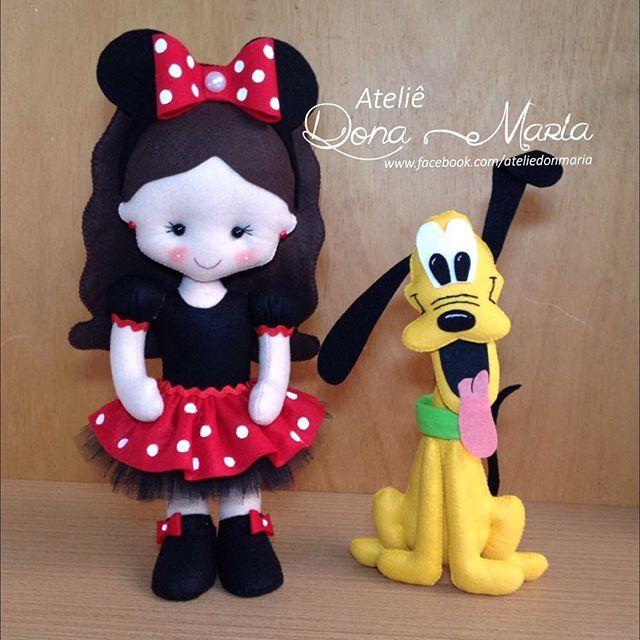 Boneca Bibi e Pluto   #feltro #bonecaminnie #boneca #pluto #minnie #minnievermelha #festademenina #festainfantil
