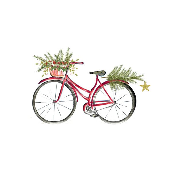 Red Christmas bicycle Art Print