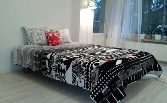 Modern quilt made from Marimekko fabric, Scandinavian patchwork contemporary bed cover, black and white geometric coverlet, King, Queen twin