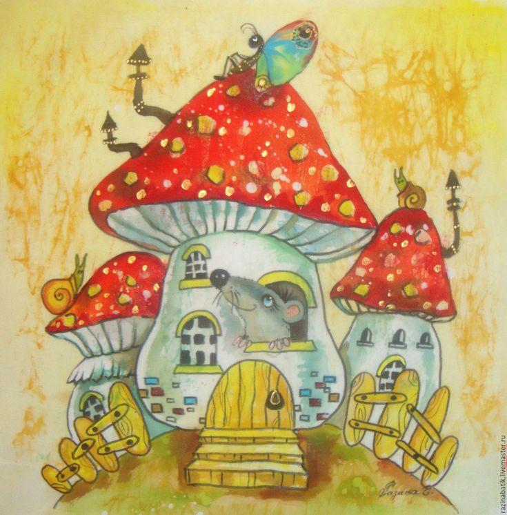 Купить Грибной теремок ( батик панно) - ярко-красный, гриб, дом, город, мухомор