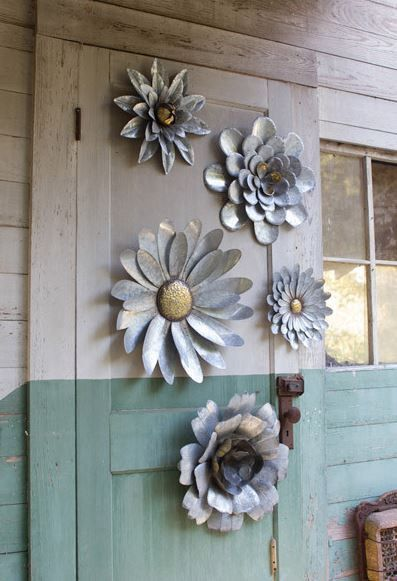"""SET OF FIVE GALVANIZED METAL FLOWER WALL HANGINGS CMN1125 Sold in Boxes of: 1 Each Product Dimensions: largest 21""""d smallest 11.5""""d one each design UPC#841628113648"""