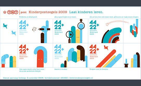 """De kinderpostzegels uit 2009 met het thema """"Laat kinderen leren"""". Ontwerp: Christian Borstlap"""