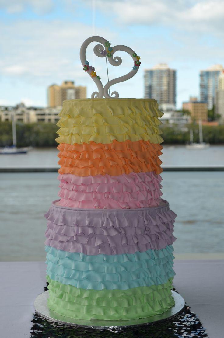 Wedding Cake, rainbow ruffle layer
