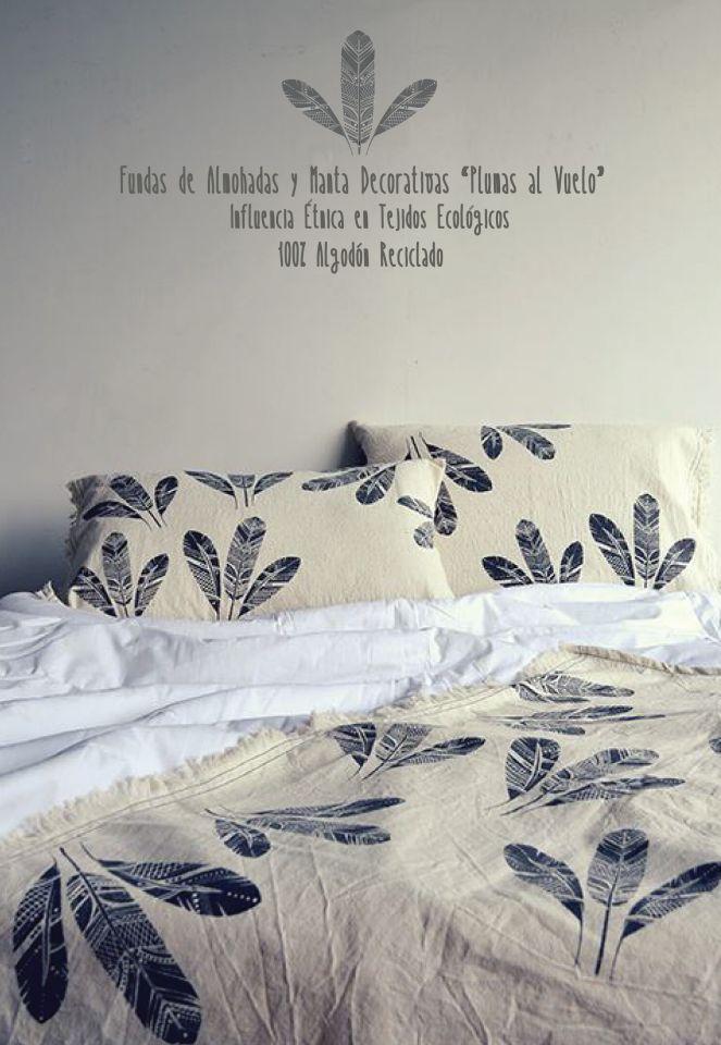 Manta y Fundas de almohadas decorativas Influencia étnica en tejidos ecológicos 100% agodón reciclado