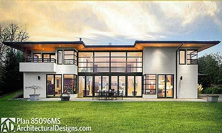 Seen from the left, Exclusive Modern Prairie Home Plan 85096MS comes with a detached 4 car carriage house as a bonus. Ready when you are. Where do YOU want to build?