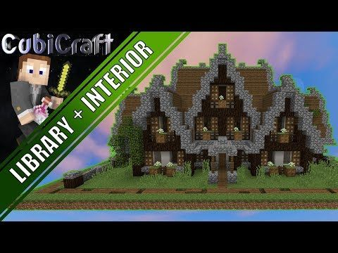 How to build a Medieval Rustic Library + Interior Minecraft