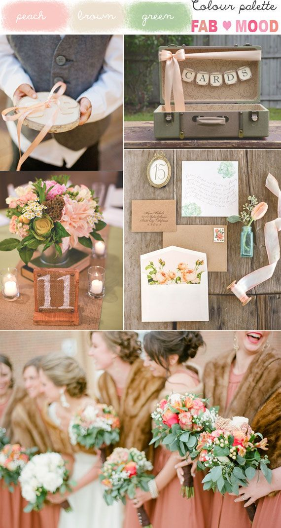 Peach , Green & Brown Vintage Wedding