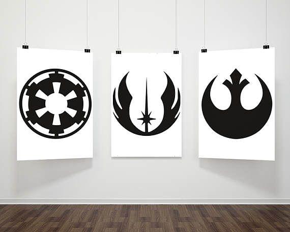 Star Wars Inspired Poster Print | 3 Set Digital Download | Symbols- Galactic Empire, Jedi Order, Rebel Alliance | Wall Art | Minimalist