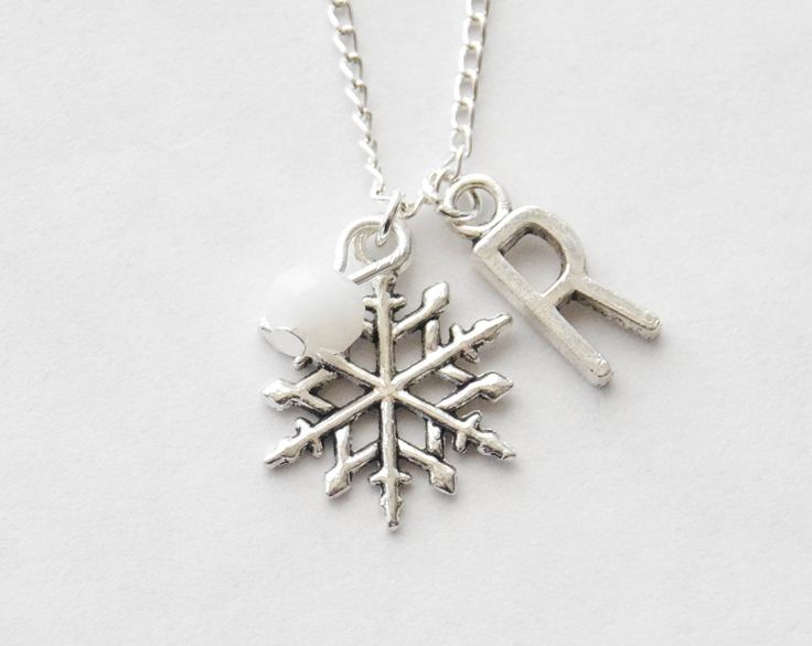 Snowflake Charm Necklace, Personalized Initial Necklace, Snowflake Jewelry, Silver Snowflake Necklace, Christmas Gift, Personalized Necklace by SmittenKittenKendall on Etsy