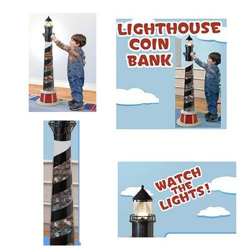 Lighthouse coin bank money bank with lights and sounds lighthouse nautical bedroom - Nautical piggy banks ...