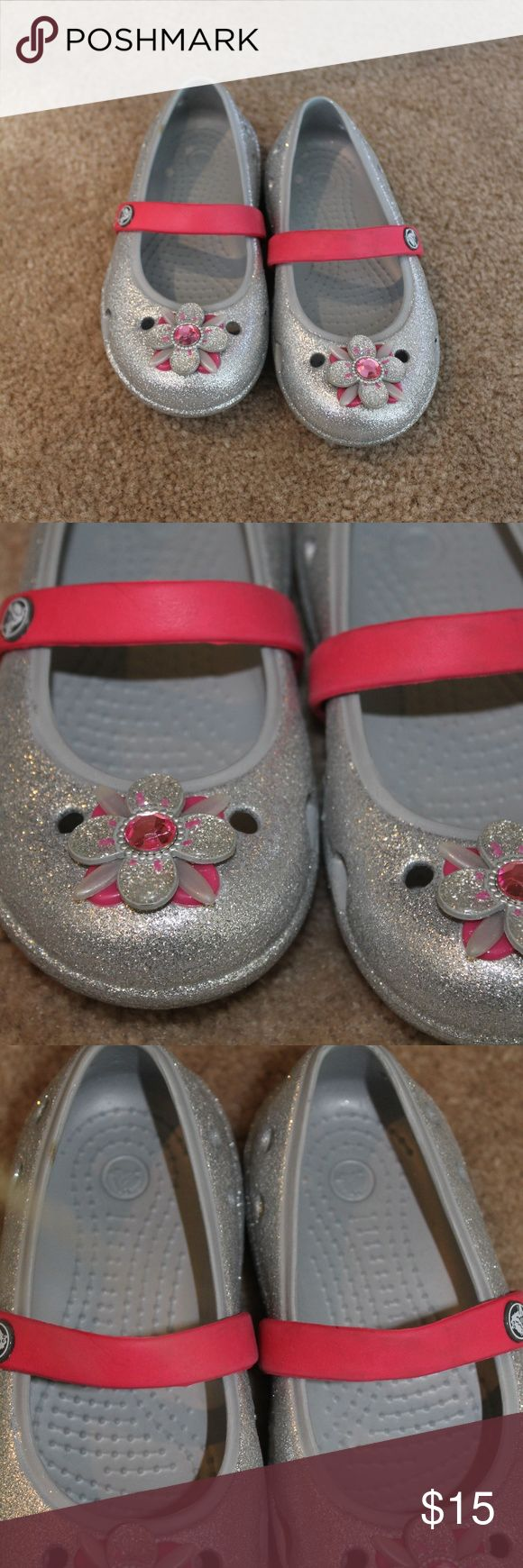 Silver Glitter Crocs for Toddler Girl Sz 9 EUC Crocs with Glitter and Flowers for Toddler Girl Sz. 9 Worn Once CROCS Shoes