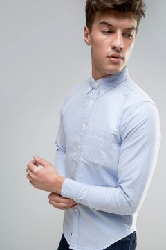 Abercrombie & Fitch Oxford Shirt Muscle Slim Fit One Pocket In Blue - Blue #modasto #giyim #erkek https://modasto.com/abercrombie-fitch/erkek/br21370ct59