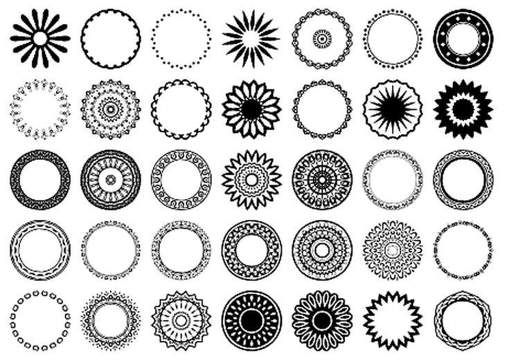 Free Circular Border Shapes for Photoshop and Elements: Circular Design Custom Shape Set 6